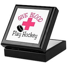 Give Blood Play Hockey Keepsake Box