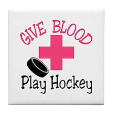 Give Blood Play Hockey Tile Coaster