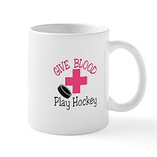 Give Blood Play Hockey Mugs