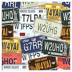 Vintage License Plates  Poster