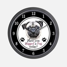 Pug Hug Wall Clock