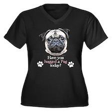Pug Hug Women's Plus Size V-Neck Dark T-Shirt