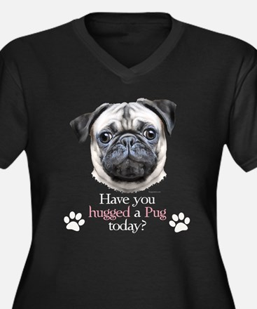 Pug Hug Women's Plus Size V-Neck Dark T-Shirt