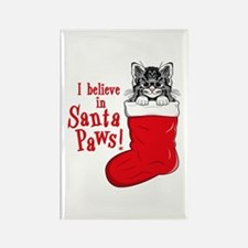 Santa Paws Kitty Rectangle Magnet (10 pack)