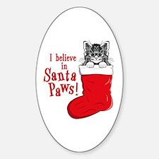 Santa Paws Kitty Oval Decal