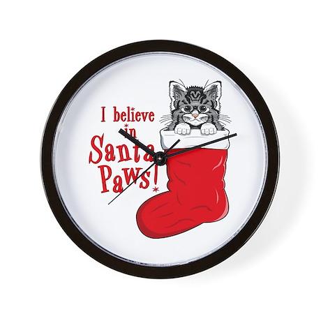 Santa Paws Kitty Wall Clock