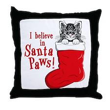 Santa Paws Kitty Throw Pillow