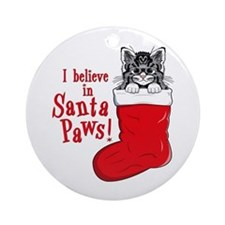 Santa Paws Kitty Christmas Ornament (Round)