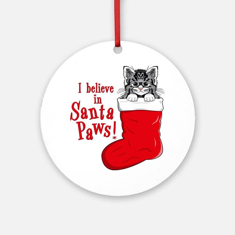 Santa Paws Kitty Christmas Ornament (Round)