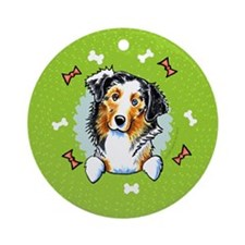 Australian Shepherd Christmas Wreath Ornament (Rou