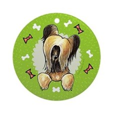 Briard Christmas Wreath Ornament (Round)