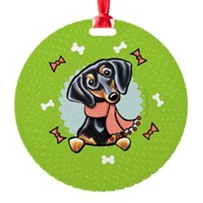 B/T Dachshund Christmas Wreath Ornament