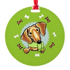 Red Dachshund Christmas Wreath Ornament
