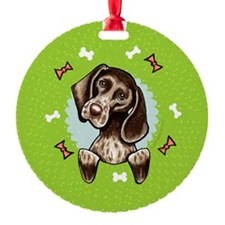 Pointer Christmas Wreath Ornament