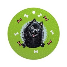 Schipperke Christmas Wreath Ornament (Round)