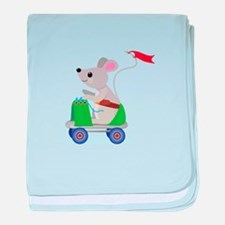 Mouse on a Skate Scooter baby blanket