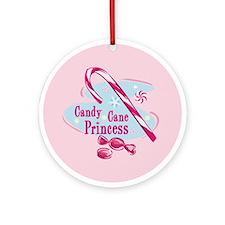 Candy Cane Princess Christmas Ornament (Round)