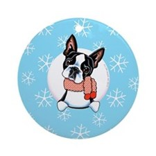 Boston Terrier Let it Snow Ornament (Round)