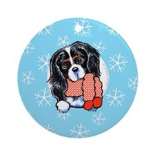 Tricolor CKCS Let it Snow Ornament (Round)