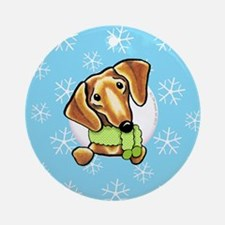 Red Dachshund Let it Snow Ornament (Round)