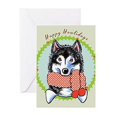 Alaskan Malamute Happy Howlidays Greeting Card