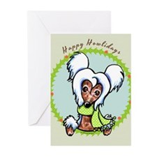 Chinese Crested Happy Howlidays Greeting Cards (Pk