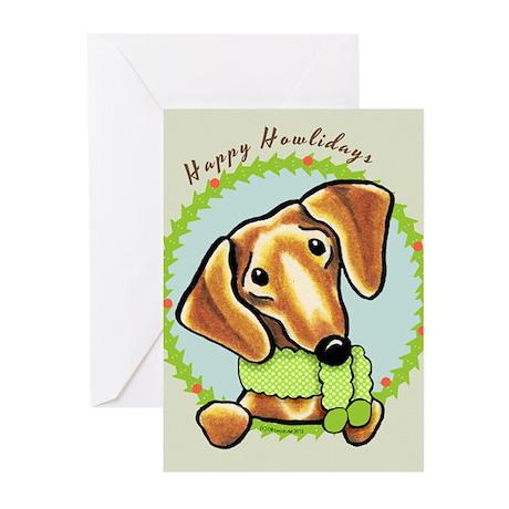 Red Dachshund Happy Howlidays Greeting Cards (Pk o