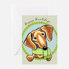 Red Dachshund Happy Howlidays Greeting Card