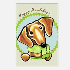 Red Dachshund Happy Howlidays Postcards (Package o