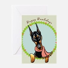 Doberman Happy Howlidays Greeting Card