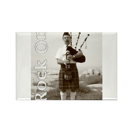 Rock On Bagpipes Rectangle Magnet (10 pack)