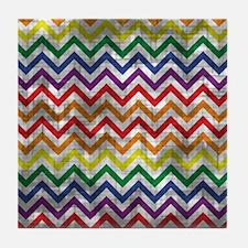 Distressed Rainbow Zig Zags Tile Coaster