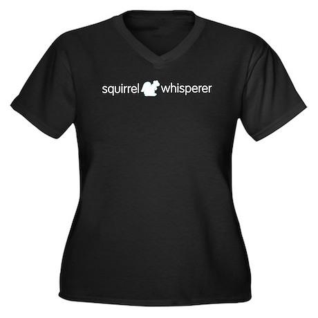 Squirrel Whisperer Women's Plus Size V-Neck Dark T