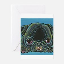 Rainbow Black Pug Greeting Cards