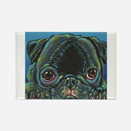 Rainbow Black Pug Magnets
