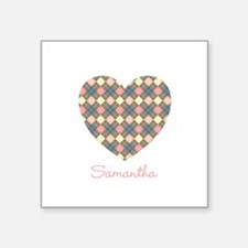 "Heart Shape Argyle Personal Square Sticker 3"" x 3"""