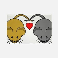 Mouse Couple of Brown and Black Mice Magnets