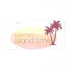 Island time 3 Aluminum License Plate