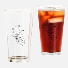 Euphonium Redwork Drinking Glass