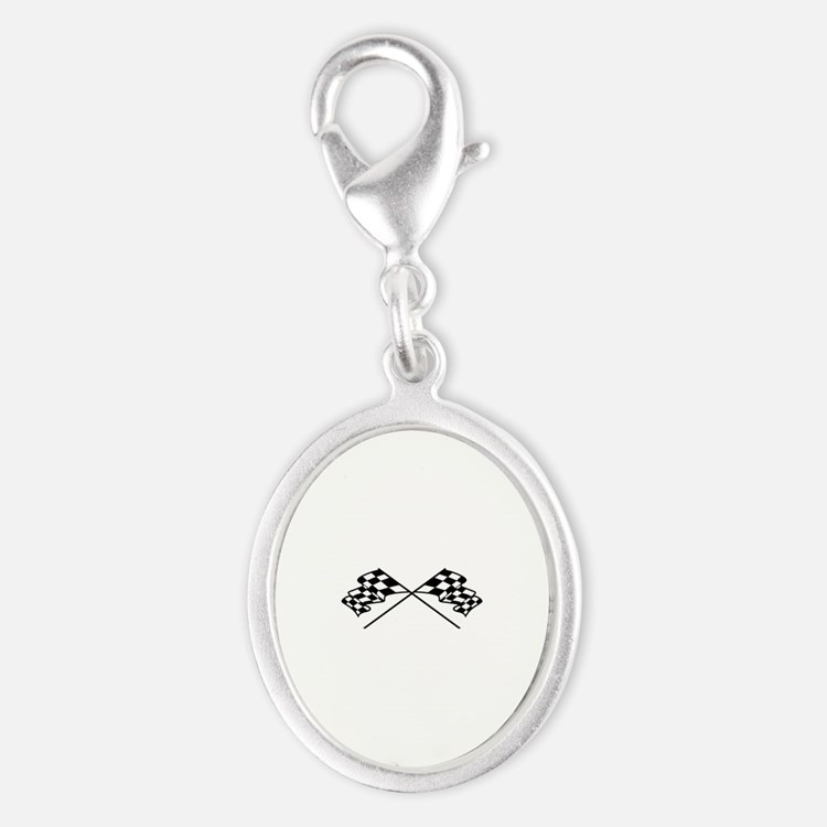 Crossed Racing Flags Charms