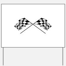 Crossed Racing Flags Yard Sign