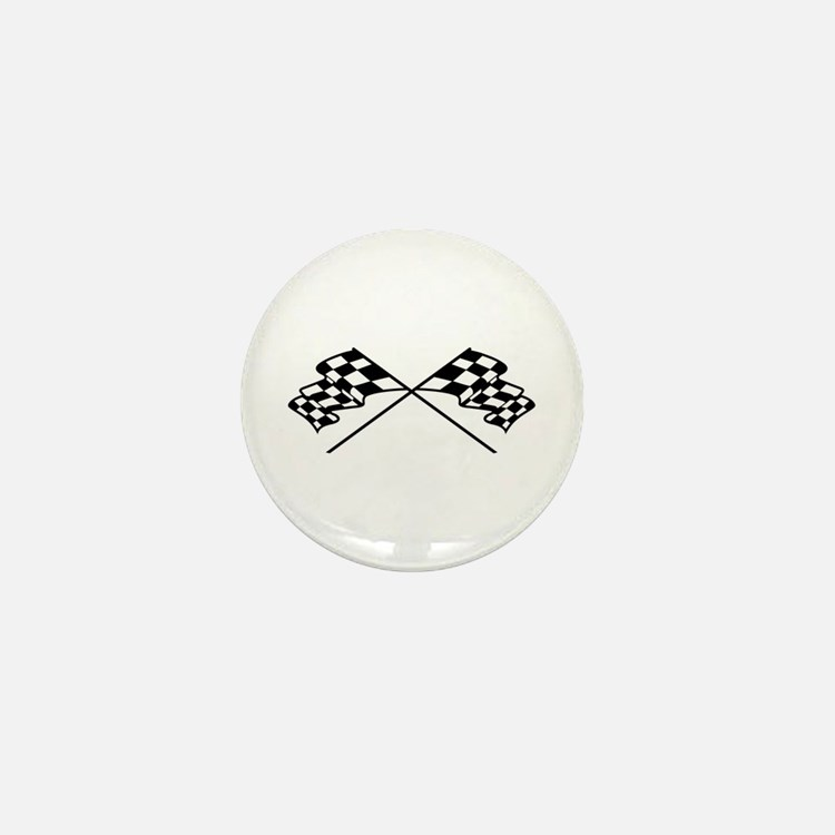 Crossed Racing Flags Mini Button (10 pack)