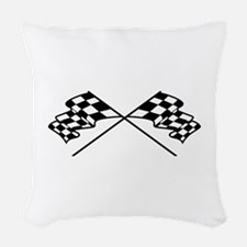 Crossed Racing Flags Woven Throw Pillow