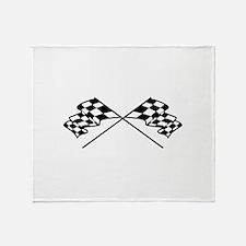 Crossed Racing Flags Throw Blanket