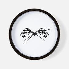 Crossed Racing Flags Wall Clock
