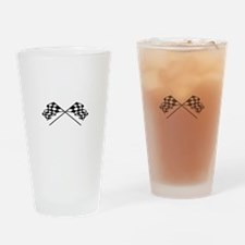 Crossed Racing Flags Drinking Glass