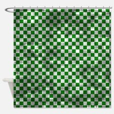 Distressed Green Checkers Shower Curtain