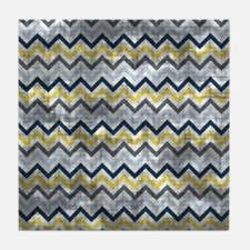 Distressed Blue And Yellow Zig Zags Tile Coaster