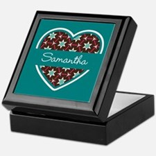 Personalized Teal Heart Pattern Keepsake Box