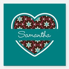 """Personalized Teal Heart Square Car Magnet 3"""" x 3"""""""